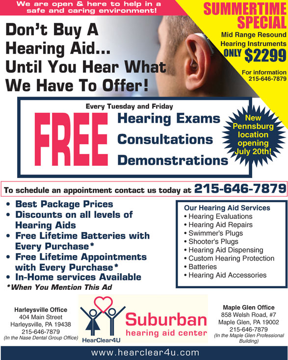 Free Weekly Hearing Services & Special Offers - Suburban Hearing Aid Center